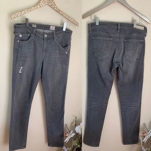 AG Stilt Cigarette Grey Distressed skinny jeans 30